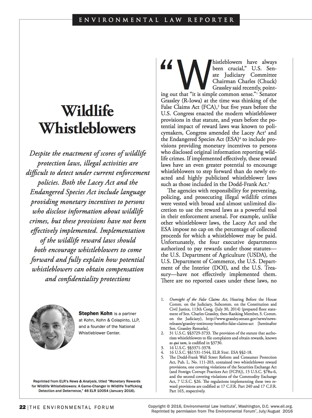 Wildlife Whistleblowers Article
