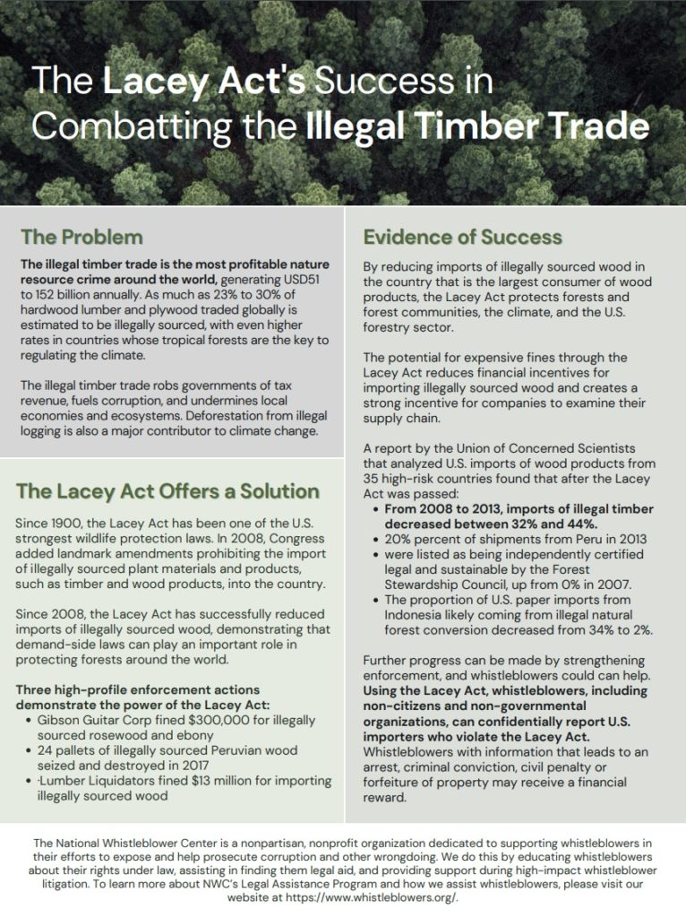 Overview on how Lacey Act ca combat illegal timber trade